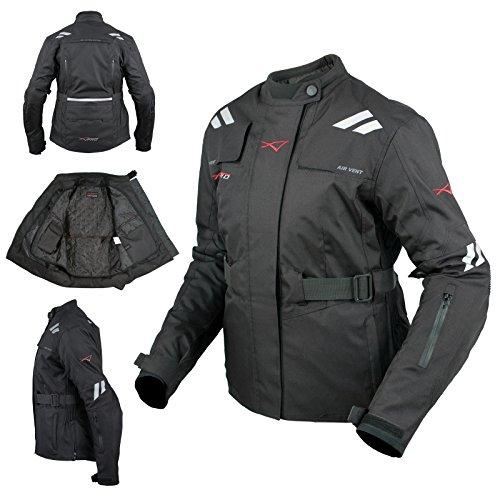 Giacca Donna Moto Impermeabile Tessuto Protezioni CE Viaggio Nero L