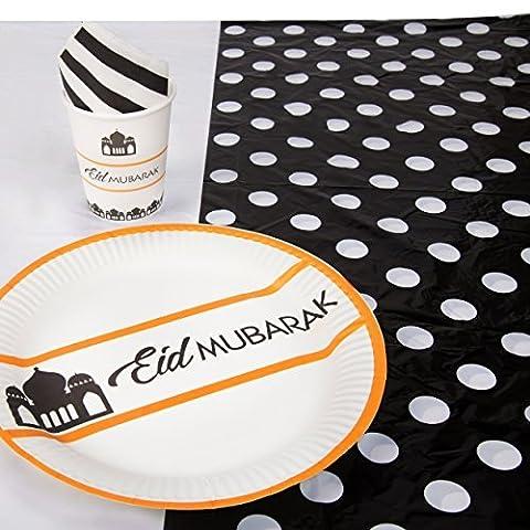 Eid Moubarak Doré, Noir Et Blanc Vaisselle Set - 10x Plaques, 8 X Tasses, 20x Serviette & Nappe