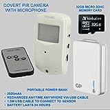 tc84a- Covert PIR Détecteur de mouvement sécurité Appareil photo espion avec microphone, 2500mAh Portable Power d'alimentation et carte Micro SDHC 32Go