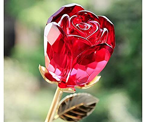Unique Exclusive Red Glass Crystal Rose Flower & Gold Plated Stem with Crystal VASE in a Lavish Red GIFT BOX Great Mother's Day New Home Business Gift,
