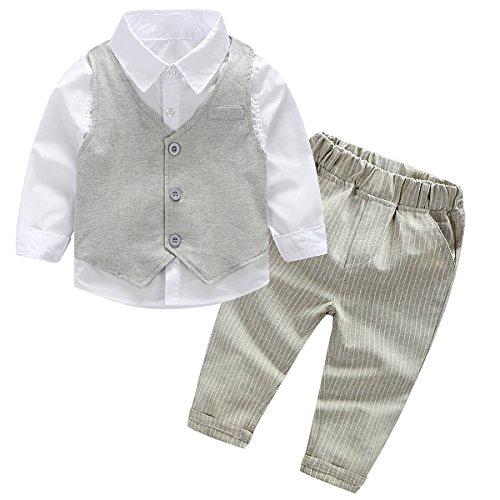 puseky Baby Jungen Herrn weiß Hemd + Weste + Hose Outfits Kleidung SET