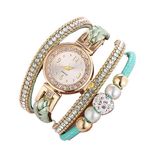 Mode Damenuhr, Paticess Armbanduhr Bohemian Stil Strass Zifferblatt Lässiger Analoge Quartz Uhren für Frauen