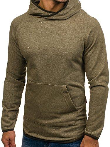 BOLF Herren Kapuzenpullover Sweatshirt Langarmshirt Pulli Hoodie Basic 1A1 Khaki_1685