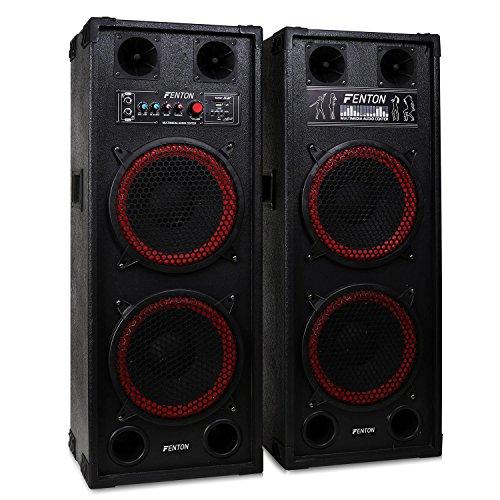 """Fenton SPB-210 • PA-Aktiv-Lautsprecher • 1200 Watt max. • je 2 x 10""""-Woofer und 2 Piezo-Hochtöner • Bluetooth • USB- und SD/MMC • Tragegriffe • Schutzecken und Boxengitter aus Metall • schwarz-rot"""