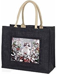 Winter Snow Kitten Large Black Shopping Bag Christmas Present Idea