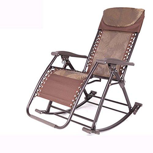 Chaise à bascule Chaise inclinable Folding Pause déjeuner Chaise à bascule Chaise de loisirs Chaise pour personnes âgées Balcon Chaise en rotin Chaise Nap (Couleur : Brown Jacquard)