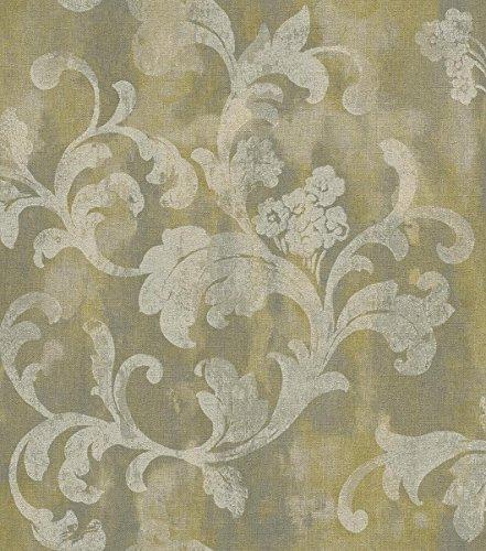 Rasch Vlies Tapete - Größe: 0,53 x 10,05 m - Farbe: grün, oliv - Stil: Muster & Motive...