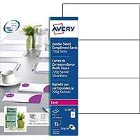 Avery 75 Cartes de Correspondance à Bords Lisses 220g - 210x99mm - Impression Laser - Satin - Blanc (C2359)