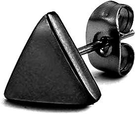 Peora 8 mm Triangle Stainless Steel Stud Earrings For Men Boys