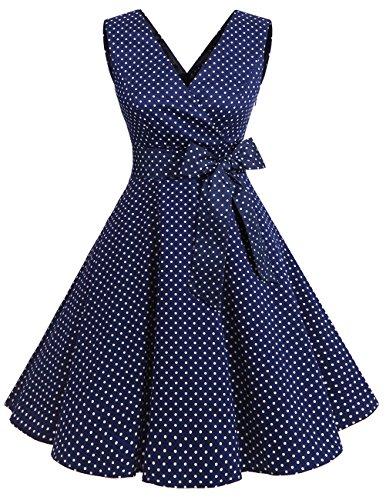 Dresstells Version 7.0 Vintage 1950's robe de soirée cocktail col en V sans manches rétro style années 50 Navy Small White Dot