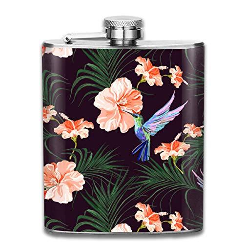 7OZ Edelstahlflasche, personalisierte Kolibri Palm verlässt Hibiskus Muster Schnapsflasche, Flaschen für Herren und Damen
