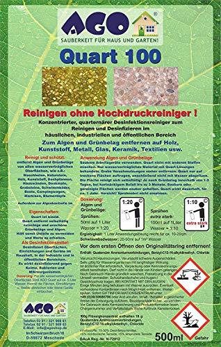 AGO ® Quart 100 Hochkonzentrat Grünbelagentferner 500ml Konzentrat. Gegen Algen, Flechten und sonstige Grünbeläge. Biologisch abbaubar, Chlor- und Säurefrei