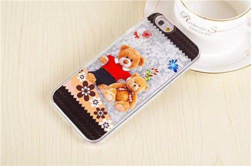 Coque iPhone 6/6S , iNenk® Peinture sable manchon protection mode liquide teinté mouvants Fluorescence créatif Mignon Dessin animé dur PC Téléphone Shell-rose Blanc