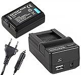 3in1-SET für die Sony Alpha 6500 / Alpha 6000 --- Akku (950mAh) + 4in1 Ladegerät (u.a. mit USB / micro-USB und Kfz/Auto) inkl. PATONA Displaypad