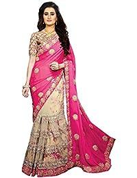 Sareena Designer Sarees Women's Pink Georgette & Net Heavy Party Wear Sarees For Women Latest Design 2018 Mega...