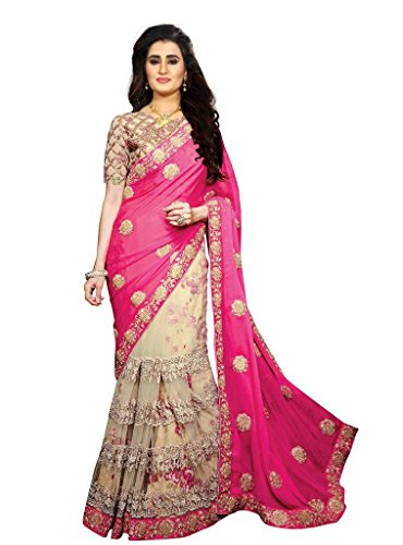 39d0bd470fc23 Shyora Designer sarees Women's Pink Georgette & Net Heavy Party Wear ...