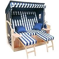 Brubaker Familias Deluxe XXL vollieger playa cesta Rügen de 3plazas 156cm ancho + Luxus móvil, azul
