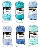 Schachenmayr Catania Wolle 6x50 Gr., 100% Baumwolle (Baby Blau Mix)
