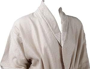 Peignoir motif à carreaux de couleur Beige avec rayures écru. Turc Serviette Peignoir.