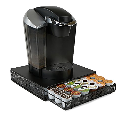 Mind Reader MTRAY-BLK K-Cup Kaffee-Pod Aufbewahrungs-Organizer Schublade Metall Mesh schwarz Square 36, Kapazität 36 Capacity schwarz