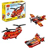 Babytintin Architect Series 3 In 1 Educational Airplane Blocks Learning Bricks Toy For Kids (Red Rotors - 145 Pcs) (3107)