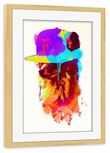 artboxONE Poster mit Rahmen Kiefer 45x30 cm Foxeys Favourite Cap von Robert Farkas - gerahmtes Poster