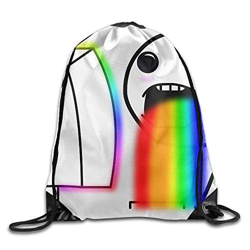 HiExotic Eco-Friendly Turnbeutel Hipster Unisex Funny Puke Rainbow Boy Print Tote Sack Bag Rucksack Drawstring Backpack Travel Bag Daypack