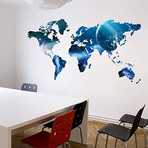 Zyzdsd Blue Global Planet Weltkarte Wandaufkleber Kunst Aufkleber Karte Ölgemälde Removable Vinyl Papier Home Aufkleber Schule Büro Dekoration (Scrapbook-papier Weltkarte)