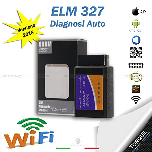 ELM 327 CON INTERFACCIA WIFI OBD2 CAN-BUS DIAGNOSI AUTO OBDII V 1.5 IOS ANDROID WINDOWS SYMBIAN SCANNER CENTRALINA AUTO IN MODALITA' WIRELESS