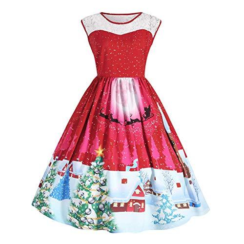 CoURTerzsl Vintage Frauen Weihnachten Spitze Patchwork Oansatz ärmelloses Skater Swing Dress XXXXL ()