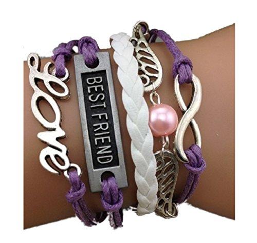 Imagen de strass & paillettes pulsera best friend alas de ángel violeta. amor. enlace infinito de plata. perla de amor. regalo para su mejor amiga. alternativa