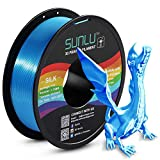 SUNLU Silk PLA Filament 1.75mm, 3D Printer Filament Silk, Silky Shiny Filament PLA for 3D Printers and Pens, 1kg(2.2Lbs)/Spool, Silk Blue