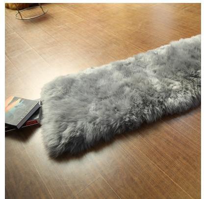 GRENSS 50 * 160 cm Australien Wollteppiche für Wohnzimmer weich und luxuriös Teppiche Sofakissen Schlafzimmer Bett/Fenster Teppich, grau, 500mm x 1600mm, China