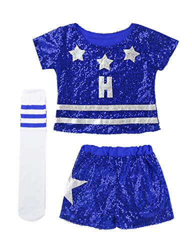 Fußball Mädchen Kostüm - iEFiEL Kinder Mädchen Cheerleading Fußball Cheerleaderin Kostüm Glanz Top und Shorts Pants mit Socken Uniform Set Fasching Karneval Party Kostüm Cosplay Blau 140-152