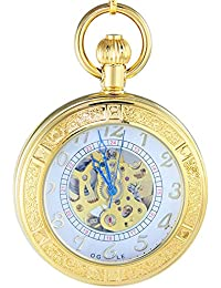 Ogle impermeable Lupa Esqueleto Colgante Collar Cadena Oro blanco Fob Self bobinado automático mecánico reloj de bolsillo