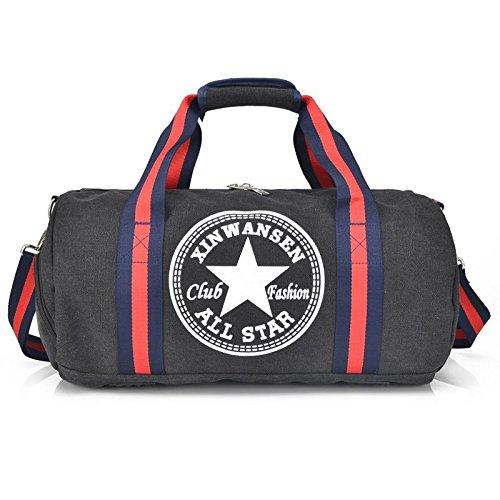 OOLIFENG Canvas Reisetasche Gepäcktasche Männer und Frauen Schultertasche Sport und Fitness Black