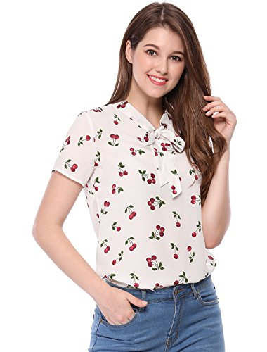 Allegra K Damen Sommer Halbarm Bowknot Kragen Cherry Top Bluse Weiß XL (EU 48) -