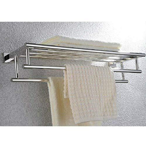 YJLGRYF Handtuchhalter Handtuchhalter-Regal aus Edelstahl für Badezimmer mit 2 Handtuchhaltern, verchromtem Handtuchhalter aus Flussstahl zur Wandmontage und zusätzlichen Haltestangen, mit doppelt gel - Doppelte Tür-gelee