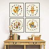 4er Set Kinderzimmer Babyzimmer Poster Bilder Din A4 | Mädchen Junge Deko | Dekoration Kinderzimmer | Waldtiere Safari Skandinavisch Kleintierernte