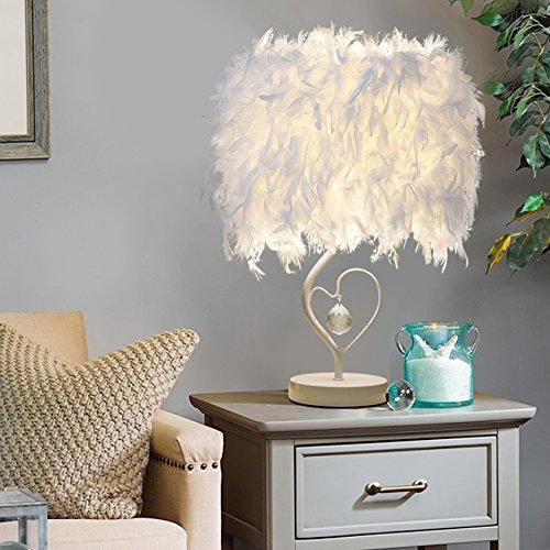 stoex lámparas de mesa en cristal pluma con cable y interruptor, lámpara de noche para lectura Salons cámara [clase energética A +]