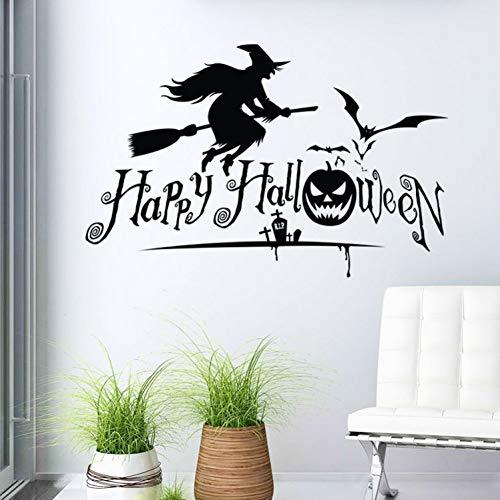 chnitzte Wandaufkleber Englisch Happy Hexe Kürbis Kinderzimmer Wanddekoration Selbstklebendes Papier ()