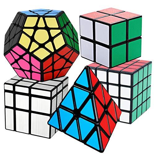 COOJA Speed Cube Set, Liscio Velocità Cubo Magico 2x2x2 + 4x4x4 + Pyraminx + Megaminx + Specchio Cube, Magic Puzzle Cube Tornitura Facile