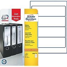 Avery Zweckform L6061-10 Ordneretiketten (A4, Ordnerrücken, Papier matt, 40 Stück, 59 x 192 mm) 10 Blatt hochweiß