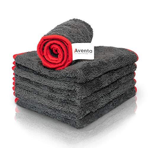 AVENTA PREMIUM CARE ® - 6x Mikrofasertücher 350GSM zur professionellen Autopflege - lackschonend & fusselfrei - Perfekt zum Auftragen / Verteilen / Polieren, 40x40cm