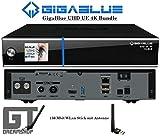 GigaBlue UHD UE 4K Cable 1xDVB-C FBC&Dual DVB-S2x Bundle m.150Mbit WLAN Stick m. Antenne