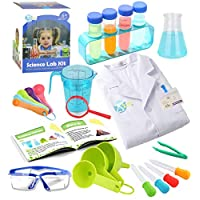 UNGLINGA Kids Science Experiment Kit with Lab Coat Scientist Costume Dress Up and Role Play Toys Gift for Boys Girls Kids Age 5 - 11 Year Old Christmas Birthday Party