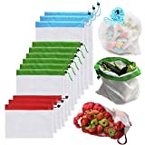 LDFV 12 PCS Reusable Mesh Produce Bags,Washable Eco Friendly Bags Fruit and Veg Bags for Grocery Shopping Storage Fruit Vegetable -3 Various Sizes(12x8In,12x13In,12x16In)