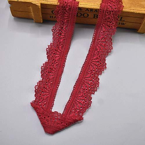 EVEYYLS Hochwertige rote elastische Spitze Band Band 30mm breit Borte Stretch Lace Trim Bestickt Net Cord zum Nähen afrikanischer Spitze Stoff, Weinrot, 5 Yards -