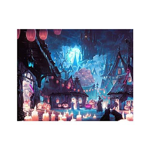 AsKong 5D Diamant-Gemälde für Zuhause, Wanddekoration, Kreuzstich, Strass-Stickerei-Kit, DIY Kunst Handwerk Halloween 11.8x9.8inch Halloween