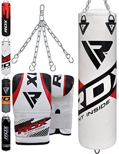 RDX Boxsack Set Gefüllt Kickboxen MMA Muay Thai Boxen mit Stahlkette Training Handschuhe Kampfsport Schwer Punchingsack 4FT 5FT Punching Bag (MEHRWEG) -
